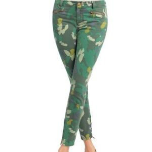 Cabi Camo Clover Green Jegging Size 4 Ankle Zipper